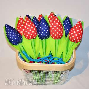 tulipany handmade z materiału bukiet - bukiet, tulipany, kwiaty, dekoracja, prezent