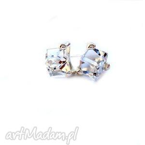 Wkrętki z kryształkami swarovski cube kosteczki srebro 925