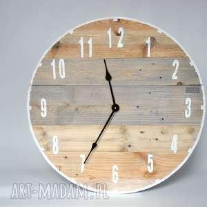 Zegar duży ze starych desek - średnica 57 cm, stare, drewno, loftowy, deski, vintage,