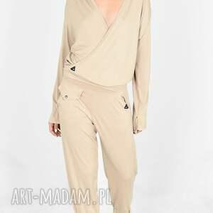 komplet dwu częściowy z wiskozy jola beżowy, komplet, bluza, marynarka, spodnie