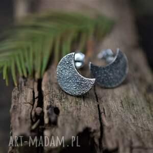 kolczyki księżyce, sztyfty, księżyc, srebrne lunula