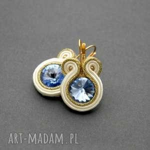kolczyki sutasz z kamieniami Swarovskiego, sznurek, błękitne, eleganckie, wieczorowe