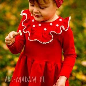 sukienka z falbanką i pomponikami melanie red, pompony, pomponiki, falbanka, koronka