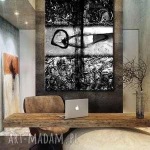 popielato czarna abstrakcja - abstrakcyjne obrazy do modnego, szara