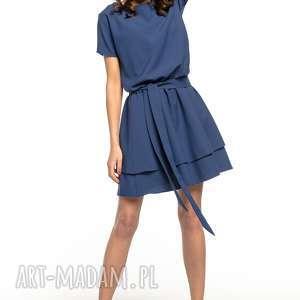 sukienka z podwójną spódnicą, t268, granatowa, elegancka, sukienka, tkanina