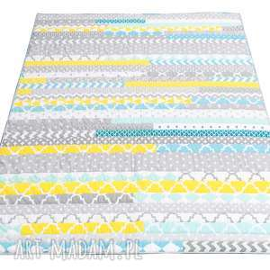 handmade koce i narzuty narzuta patchwork stripes - grey and mint 158x195cm