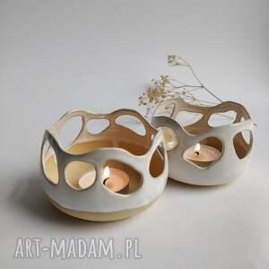 zestaw dwóch świeczników 4, świeczniki, świecznik, prezent, świecznik ceramiczny