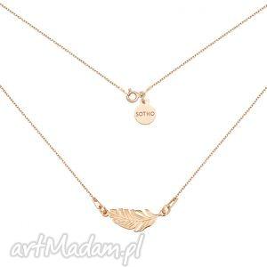 sotho naszyjnik z różowego złota piórkiem, modny, minimalistyczny, złoty