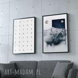 Zestaw 2 grafik ANOTHER PLACE - DIFFERENT, grafiika, góry, podwójna, obraz, ozdoba