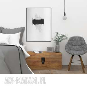obrazy abstrakcja minimalizm obraz malowany, plakat 30x40, grafika czarno-biała