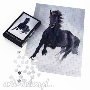 puzzle - czarny koń 60x42 cm 600 elementów, puzzle, układanka, koń, konik