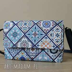 handmade na ramię listonoszka z klapką - kafelki / mozaika
