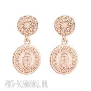 kolczyki z różowego złota z medalionami - różowe kolczyki
