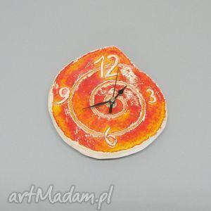 Zegar Pomarańczowy, wnętrze, dekoracja, zegar, prosty, uniwersalny