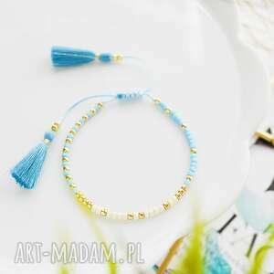 bransoletka na sznurku z chwostami błękitno-kremowa minimal blue and cream