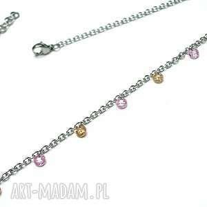 ręcznie zrobione naszyjniki alloys collection choker line -cyrkonie pink nude