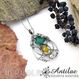 naszyjniki naszyjnik wire wrapping, żółty chalcedon, srebro