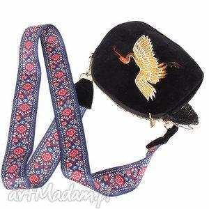 damska torebka haftowana etniczna z motywem ptaka, ptak, haftowana, aksamit, podróż