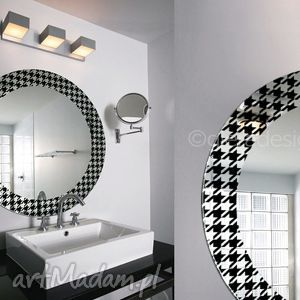 Okrągłe lustro łazienkowe Pepitka, lustro, pepitka, lusterko, łazienkowe, styl