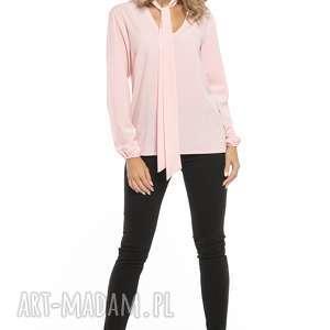 Elegancka bluzka z dekoltem i krawatem, T244, jasnoróżowy, elegancka, bluzka, szyfon,
