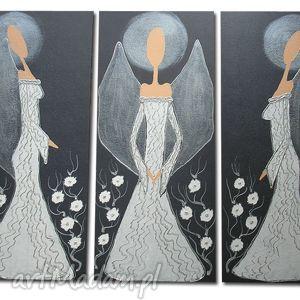 ręcznie malowane ANIOŁY SZCZĘŚCIA I DOBROBYTU - A21 90x70cm, anioły, białe,