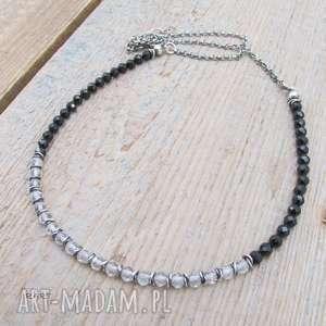 elegancki naszyjnik z topazu i turmalinu - srebrny naszyjnik, naszyjnik ze srebra