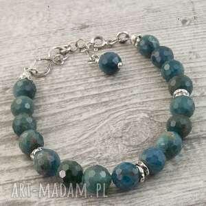 Loopart: bransoletka srebrna z granatowo zielonym apatytem bransoletka z apatytem, biżuteria