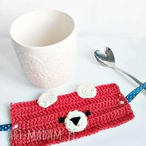 Misiowy otulacz na kubek - czerwień - handmade
