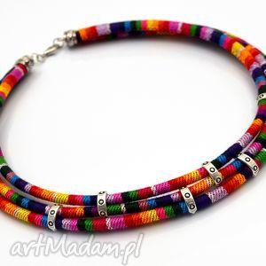 naszyjnik boho rainbow simple - boho, tkanina, kolorowy, przekładki