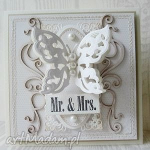 mr mrs - ślub, motyl, życzenia, gratulacje
