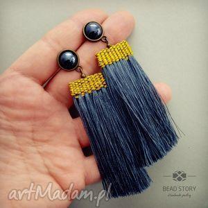 Kolczyki z tkanym chwostem bead story sztyft, metal, szkło