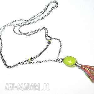 Neon summer - naszyjnik, srebro, oksydowane, agat, perły, swarovski, chwost