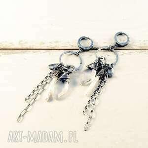 kryształ i szept strumienia, długie kolczyki, srebrne zwisajace