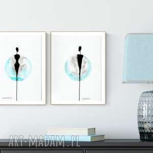 zestaw 2 grafiki A4, turkus, minimalizm, abstrakcja, obraz-malowany, obraz-abstrakcja
