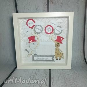 Prezent Metryczka słonikowo-żyrafkowa, narodziny, urodziny, chrzest, prezent, dziecko