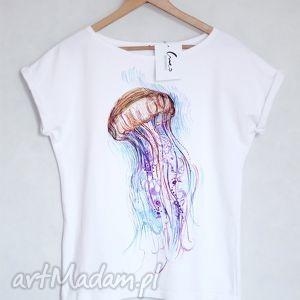 MEDUZA koszulka bawełniana biała S/M, koszulka, t-shirt, bluzka, bawełna, nadruk,