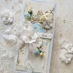 handmade scrapbooking kartki kartka na ślub w jasnych kolorach