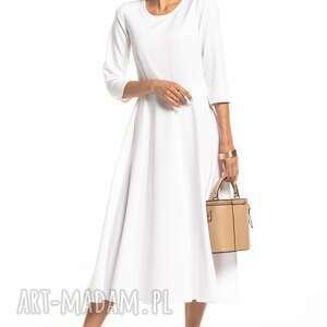 elegancka sukienka maxi z zamkiem krytym, t327, biała, elegancka, sukienka