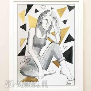 minimalistyczna kobieca akwarela - kobieta a4 niepoukładane myśli