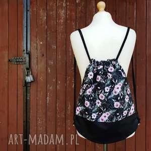 pleca worek romantico - ,plecak,worek,romantyczny,kwiaty,czarny,wodoodporny,