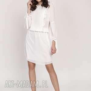 sukienki elegancka sukienka z ozdobnymi falbankami, suk176 ecru
