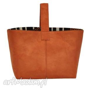 13-0005 pomarańczowa torebka damska do ręki shopper bag na zakupy toucan
