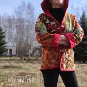 płaszcz patchworkowy z kapturem - waciak, folk, płaszcz patchwork boho, kaptur
