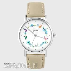 zegarki zegarek yenoo - kolorowy wianek beżowy, skórzany, zegarek, pasek