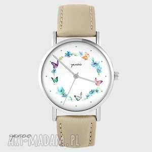 Zegarek yenoo - kolorowy wianek beżowy, skórzany zegarki zegarek