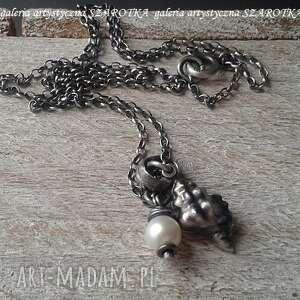 Morza szum naszyjnik z muszlą i perłą naszyjniki szarotka perła