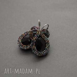 eleganckie kolczyki sutasz, sznurek, tęczowe, delikatne