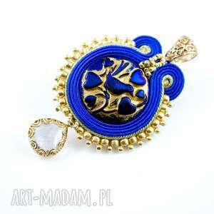 Kobaltowo-złoty wisior soutache - ,sutasz,soutache,wisiorek,glamour,błysk,karnawał,