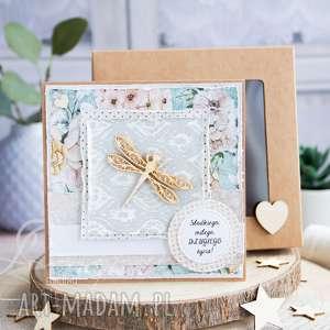 przeurocza kartka na każdą okazję w pudełku ważka urodziny imieniny itp