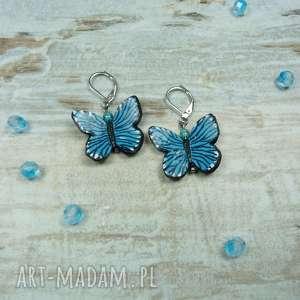 turkusowe kolczyki z motylami, motyle, kolczyki, wiszące, stal, fimo, modelina